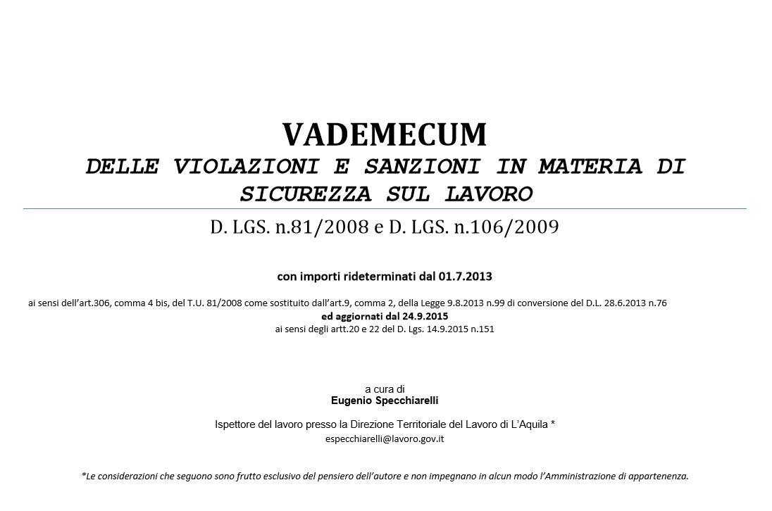 VADEMECUM SANZIONI TU 81 AGG.TE L.99 E D.LGS. 151