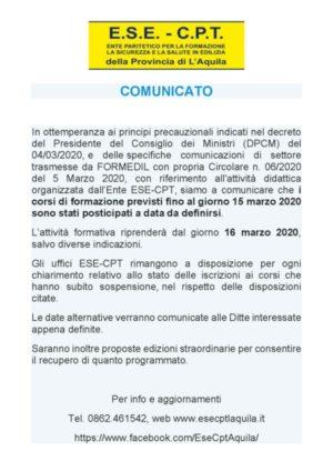 Sospensione delle attività didattiche e formative fino al 15/3/2020